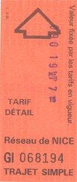 Ticket de bus de Nice (1991)