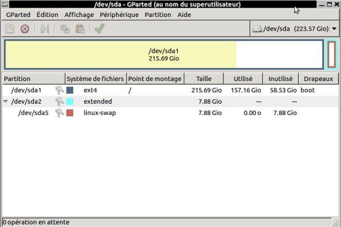 Gestionnaire de partitions (GPARTED)