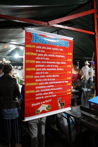 burritos sur la place du libérateur à Jardin - l'autre ailleurs en Colombie, une autre idée du voyage