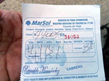 ticket de bus de la compagnie Marsol, de Carthagène des Indes à Santa Marta - l'autre ailleurs en Colombie, une autre idée du voyage