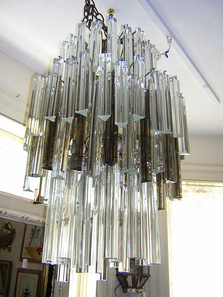 Venini Glass And Chrome Chandelier