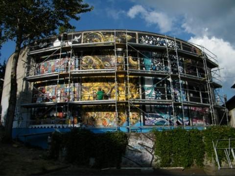 Fresque géante de 130 m2 à Aurillac