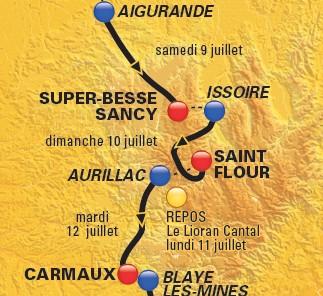 Etape, arrivée à St Flour, départ à Aurillac du Tour de France 2011