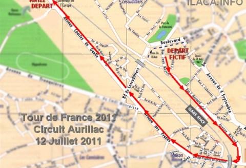 Parcours et circuit du Tour de France dans Aurillac