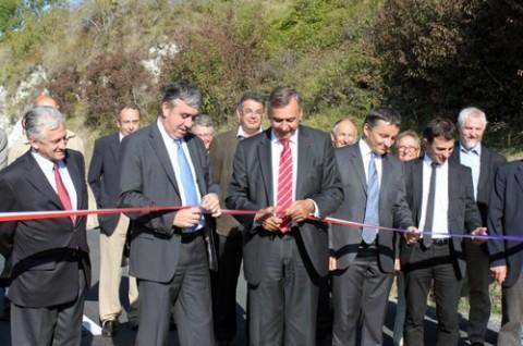 Inauguration par les élus du Cantal de la RD 600
