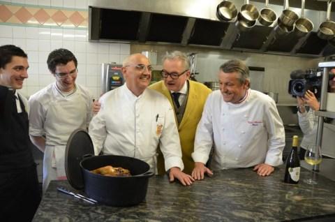 Au centre : Le Chef Louis-Bernard Puech, Jean-Luc Petitrenaud, Christian Vabret