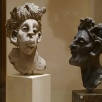 2 visages sculptures - exposition Francine Auvrouin 2016 - Espace Scipion-web