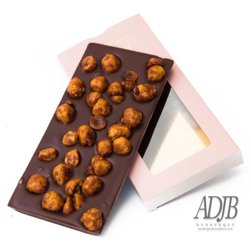 tablette de chocolat maison noir aux noisettes caramelisees craquez