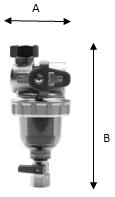 Ultima E/BK: kompaktní magnetický mechanický filtr - rozměry filtru