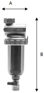 Ultima E/LD: kompaktní magnetický mechanický filtr - rozměry