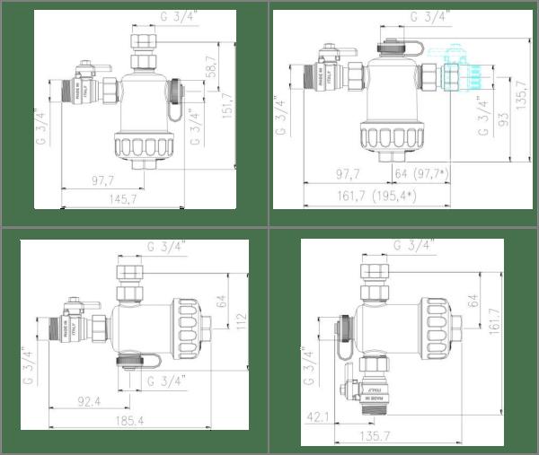 Ultima MG1 Vario X: kompaktní magnetický mechanický filtr - rozměry filtru