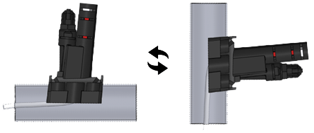 Montage sur canalisation verticale ou horizontale