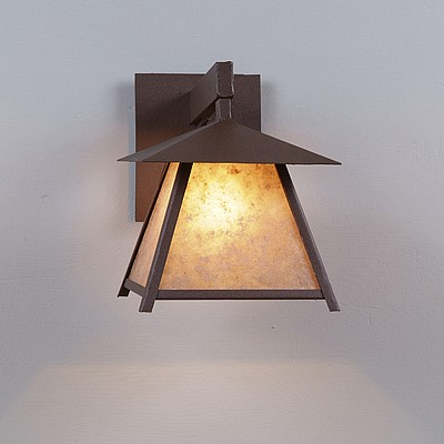 clearance smoky mtn sconce small northrim almond mica shade rustic brown finish
