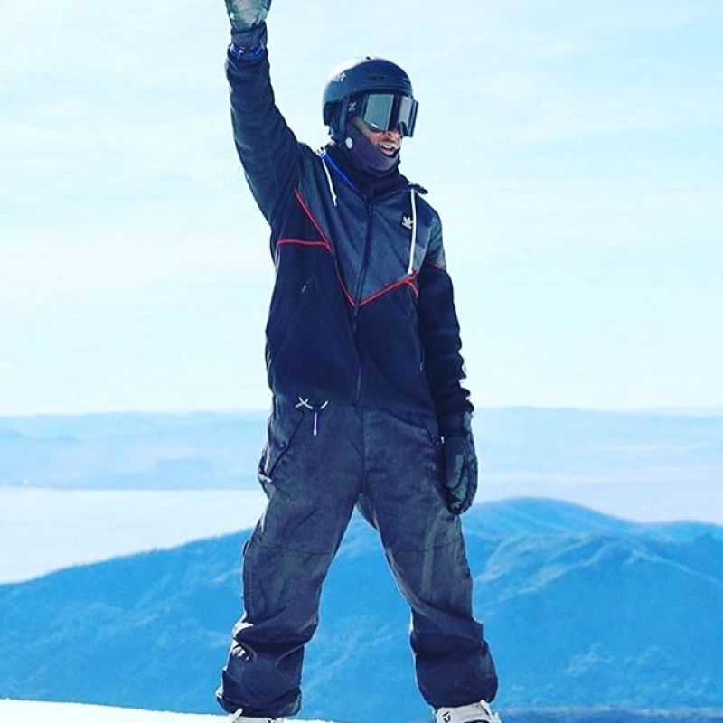 Who's excited for winter?! @brolinmawejje is.  Weather report in Jackson Hole right now: Currently DUMPING snow.  Stoke factor is HIGH.  #SeekTheStoke #snowboarding #ugandabekiddingme