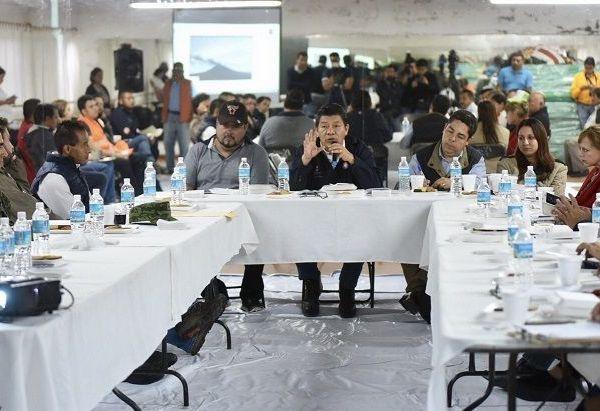 el secretario de Gobierno, Matías Quiroz Medina, al concluir la reunión de trabajo