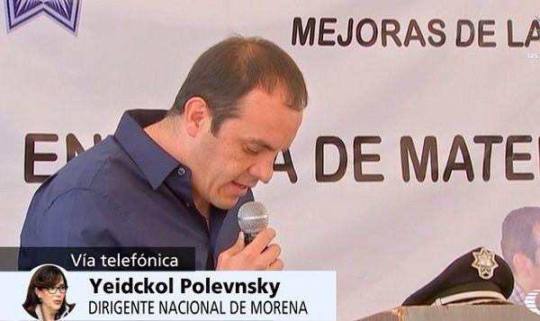 """Le advirtió que no tolerarán la compra de diputados de Morena para que formen parte del Partido Encuentro Social, como lo ha intentado """"el español"""" José Manuel Sanz. Morelos, dijo, es un caso dramático, crítico, triste y penoso"""