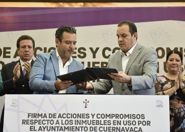 El gobernador Cuauhtémoc Blanco destacó que con la sesión de los derechos se fortalecen las relaciones institucionales entre ambos gobiernos y se otorga certeza jurídica a los bienes patrimoniales del Estado