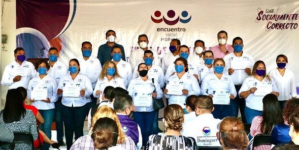 Jorge Argüelles habló del trabajo realizado y exhortó a los nuevos integrantes a trabajar en beneficio de la población morelense
