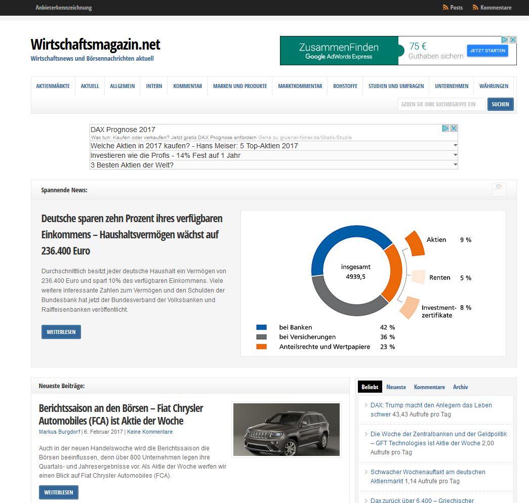 Screenshot der Startseite von Wirtschaftsmagazin.net