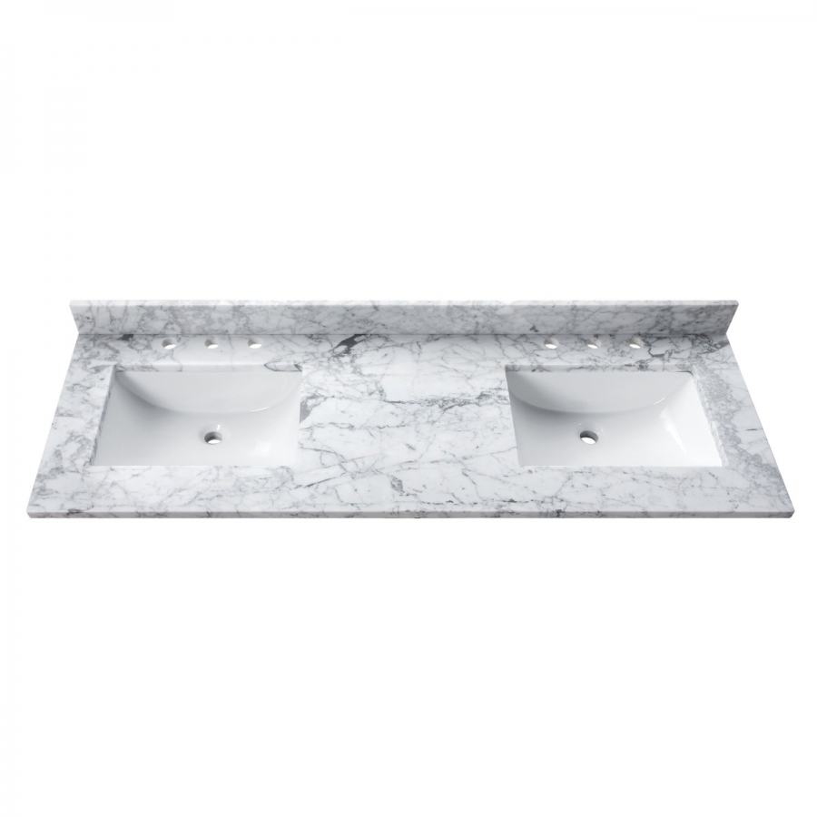 73 in carrera white stone vanity top double rectangular sinks