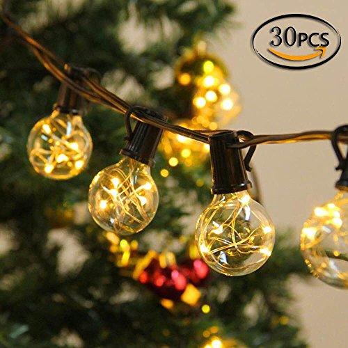 10M Guirlande Lumineuse Raccordable à 30 Ampoules Blanc Chaud, CroLED Décoration Guinguette Extérieur Intérieur chambre, patio, terrasse,déco boule lumineux pas de chaleur / Ultra Basse Consommation