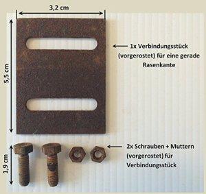 Bordures de gazon en métal acier Corten vorgerostet Longueur: 1,5m Épaisseur: 2mm de hauteur: 12,5cm N ° 04 Zubehörtset 1