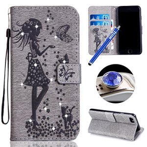 Coque pour iPhone 6,iPhone 6S Housse, Etsue iPhone 6/6S Flip Bookstyle Housse Étui Coque de Protection en PU Cuir,Strass Bling Glitter Diamant Fleur Fille Papillon Chat Motif Etui Housse Cuir Portefeuille Folio Flip Case Cover Wallet Coque Protection Étui avec Soft Silicone Flexible intérieure et Fonction Support Fermeture Magnétique et Fentes de Carte de Crédit Bumper Cas Cover Coque Couverture Etui pour Apple iPhone 6 & iPhone 6S +1 x Bleu stylet + 1 x Anti-poussière plug – Gris
