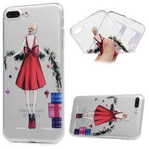Étui iPhone 7 Plus / iPhone 8 Plus (5.5 Pouces) Coque Peinture TPU Silicone Cover Ultra Léger Doux Lisse lumière Créatif Exclusif de Protection de Transparent Téléphone Case – Fille en Robe Rouge