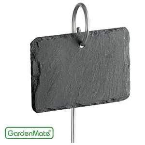 GardenMate® Lot de 10 signets marque-plantes en ardoise avec tiges métalliques – style naturelle