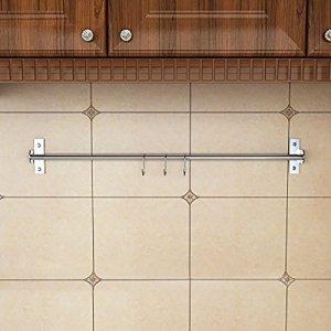Lugii Cube 304ustensile de cuisine en acier inoxydable à fixation murale 80cm 3crochets en S de rail de rangement