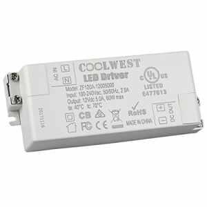 COOLWEST LED Transformateur 60W Driver 12V DC Convertisseur Transfo pour G4 GU10 MR11 MR16 Rubans
