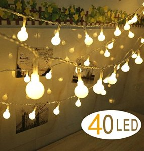 40 LEDs Wedding Party Garden Christmas Globe String Lights Feu de cordes Lights, Warm White