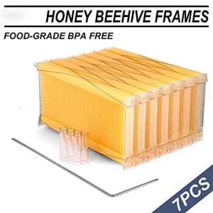 7pcs Cadres de flux automatique Honey Combs Apiculture Beehive Harvesting, cadres de récolte de ruche automatique Raw avec 7 tubes de récolte et une clé de récolte