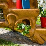 Banque windalf Grosse Fleur Salmar L: 162cm main Étagère en teck Fairy style floral en bois de racine