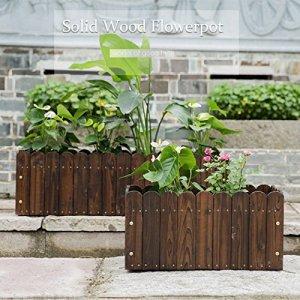 Malayas Bac à Fleurs en Bois Rectangulaire Jardinière Retro Pastoral pour Cultiver Plantes Fleurs Légumes Herbes 55 x 40 x 30cm Potager de Jardin