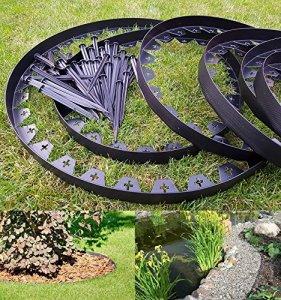 Zielona Aleja Bordure de jardin En plastique flexible Noir 10 mètres Avec 50 piquets solides Bordure de pelouse Bordure de pelouse flexible Bordure de gazon en plastique Idées de jardin Décoration de jardin
