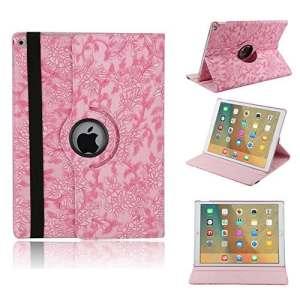 elecfan® Étui de protection rotatif 360° Motif floral PU étui en cuir pour iPad, Rosa, iPad Pro 12.9