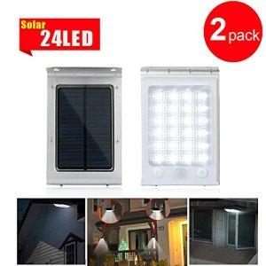 GRDE® 24 LED Lampe de sécurité solaire, imperméable solaire détecteur de mouvement, l'aviation en aluminium lampe murale d'extérieur pour jardin, porche, voie