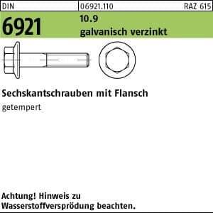 200 Sechskant Flanschschrauben DIN 6921 10.9 M 10 x 16 verzinkt A2F, Stahl