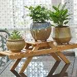 Fleur de Bambou étagère Plante Pot décoratif avec support pour pot de fleurs Bureau étagère Rack