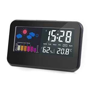 Thermometre Hygrometre Interieur Sans fil, ODLR Écran LCD digital pour l'affichage de température et humidité Mémoire de Max/Mini, Capteur Reveil Météo Prévisions