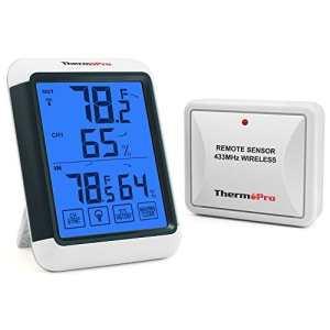 ThermoPro TP65 Thermomètre Hygromètre Électronique, Grand Écran LCD Tactile Rétroéclairé, Mémoire de Température et Humidité Max/Min, Noir/Blanc