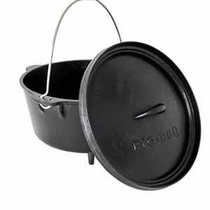 ToCis Big BBQ Big-BBQ Dutch Oven en Fonte | Fertig eingebrannter Faitout en Fonte | Pelle avec Couvercle, Couvercle de Casserole ou de Pied | avec et sans Pieds 14er – 12qt – Füße