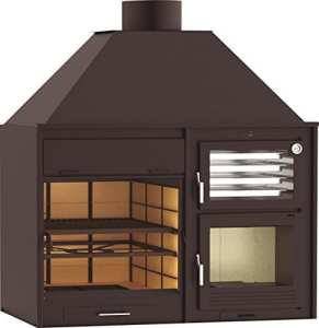 Barbecue 160 avec forn en acier, bois et charbon, interieur et exterieur (Nouveauté)