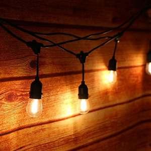 Extérieur Guirlandes Lumineuses,Tomshine 15PCS Ampoules guirlande guinguette, étanche IP65, 15 Mètres/49.9FT, E27 Base, Raccordable au maximum 40 Brins, LED Connectable Chaîne de lumières ( Blanc Chaud) (CE test,Haute qualité)