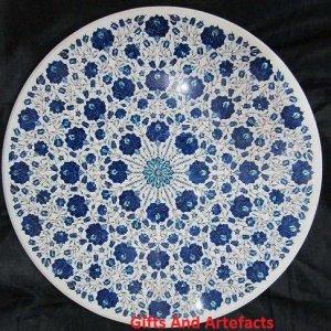Luxe 91,4cm Round Marbre Blanc Dessus de table à café incrustation Lapis Lazuli Motif floral
