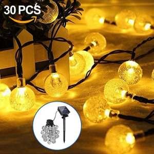 Opamoo Guirlande lumineuse solaire 30 LED solaires étanche de jardin Guirlande lumineuse décorative boules pour extérieur jardinage, pelouse, Noël Party – 6,5 m Blanc chaud