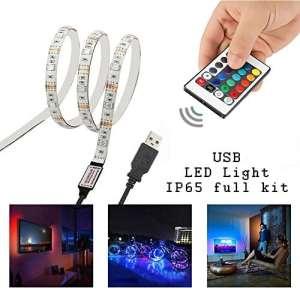 Simfonio LED de Rétroéclairage de TV – Ruban LED 1M USB Bande LED Flexible Lumineux – avec la télécommande pour HDTV, Moniteur de PC
