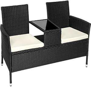 TecTake Salon de jardin en résine tressée canapé banc avec table intégrée avec verre de sécurité + coussins – diverses couleurs au choix – (Noir | No. 401547)