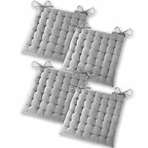Gräfenstayn Set de 4 coussins d'assise coussins de chaise 40x40x5cm pour intérieur et extérieur – 100 % coton – Différents coloris – Rembourrage épais – Cousins matelassés / Coussins de sol – Certificat Öko-Tex Standard 100 (Gris)